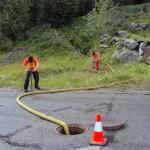 Sun Peaks Utilities' crews flushing hydrants